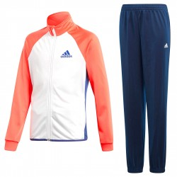 Tuta ginnastica Adidas Entry Bambina bianco-blu-corallo