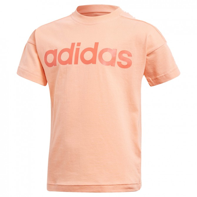 T-shirt Adidas Little Kids Linear Bambina rosa pesca