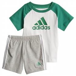 Set Adidas Mini white-grey-greenSet Adidas Mini t-shirt + shorts