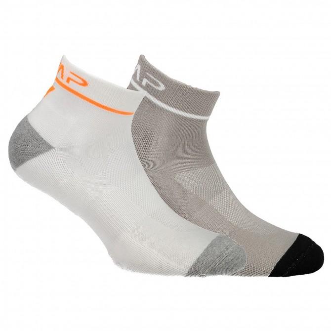 Calze running Cmp Cotton bianco-grigio