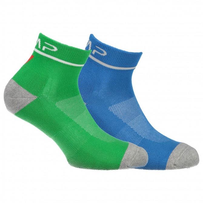 Calze running Cmp Cotton verde-azzurro