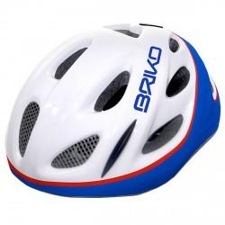 Casque cyclisme Briko Pony Junior blanc-bleu-rouge
