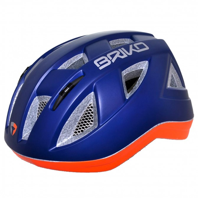 Casco ciclismo Briko Paint Junior naranja-azul