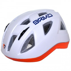 Casco ciclismo Briko Paint Junior blanco-naranja