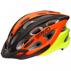 Casque cyclisme Briko Quarter noir-orange-jaune