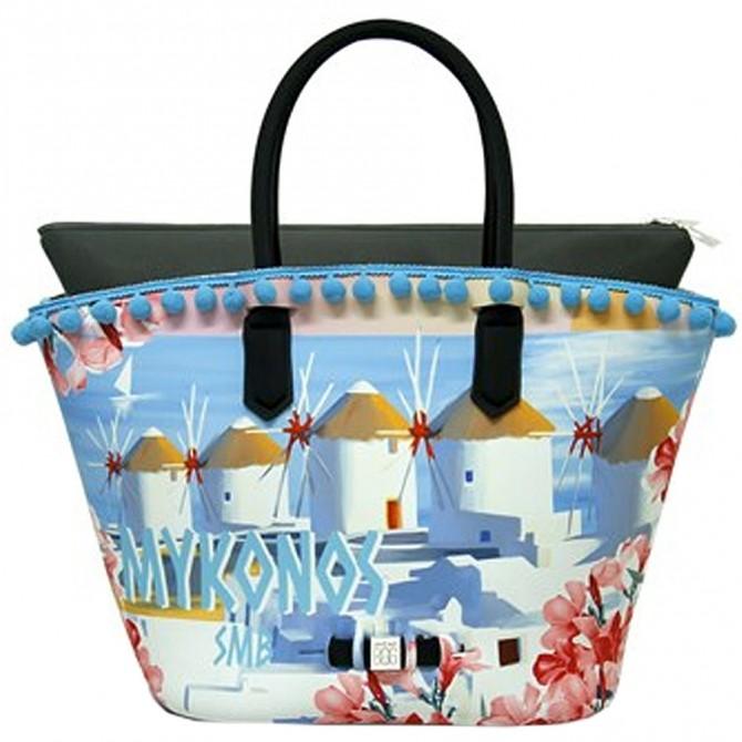 Borsa Save My Bag Tropezzienne Lycra stampata Mykonos