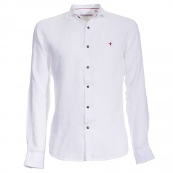Shirt Canottieri Portofino in linen with logo Man white