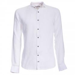 Camisa Canottieri Portofino de lino con logotipo Hombre blanco
