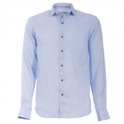 Camisa Canottieri Portofino de lino Hombre azul claro
