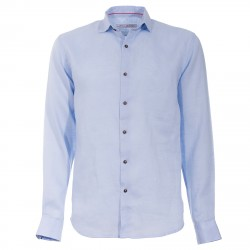 Shirt Canottieri Portofino in linen Man light blue