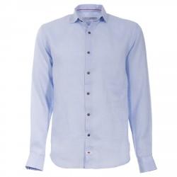 Camicia Canottieri Portofino in lino con logo Uomo azzurro
