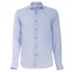 Camisa Canottieri Portofino de lino con logotipo Hombre azul claro