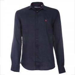 Camisa Canottieri Portofino de lino con logotipo Hombre navy