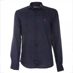 Shirt Canottieri Portofino in linen with logo Man navy