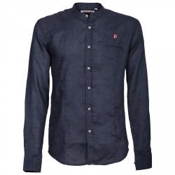 Camisa Canottieri Portofino cuello Mao con logotipo Hombre azul