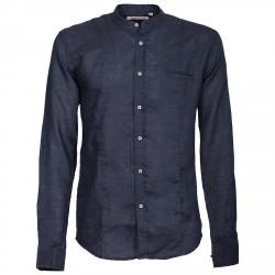 Camisa Canottieri Portofino cuello Mao Hombre azul