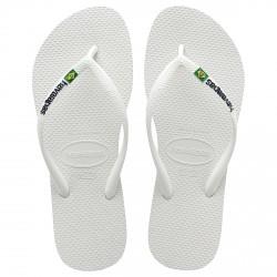 Chancletas Havaianas Brasil Slim Logo blanco
