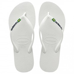 Tongs Havaianas Brasil Slim Logo blanc