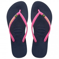 Tongs Havaianas Brasil Slim Logo bleu-rose