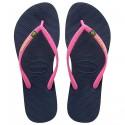 Chancletas Havaianas Brasil Slim Logo azul-rosa
