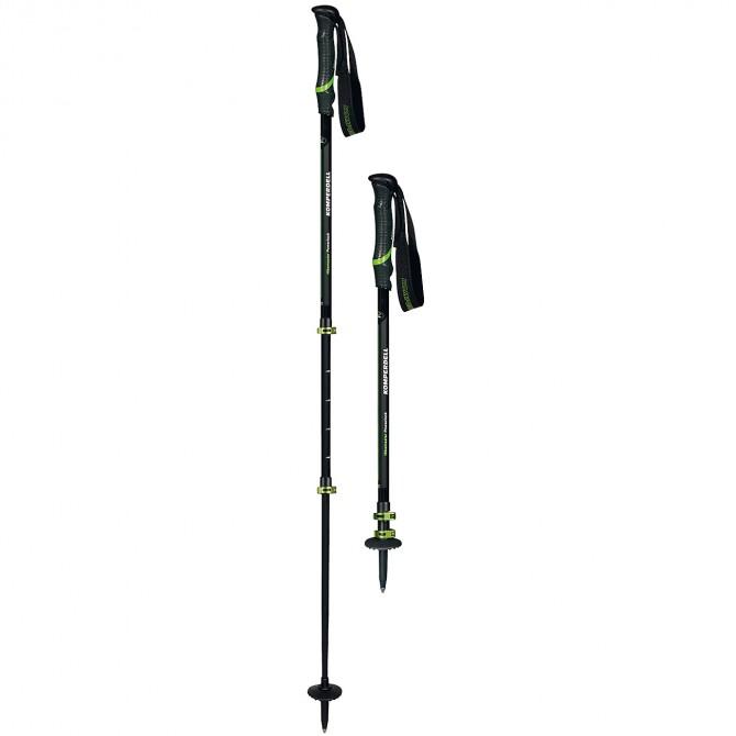 Bastoni trekking Komperdell Hikemaster Powerlock nero-verde