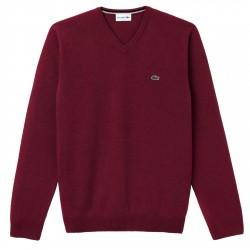 Pullover Lacoste V neck Man burgundy