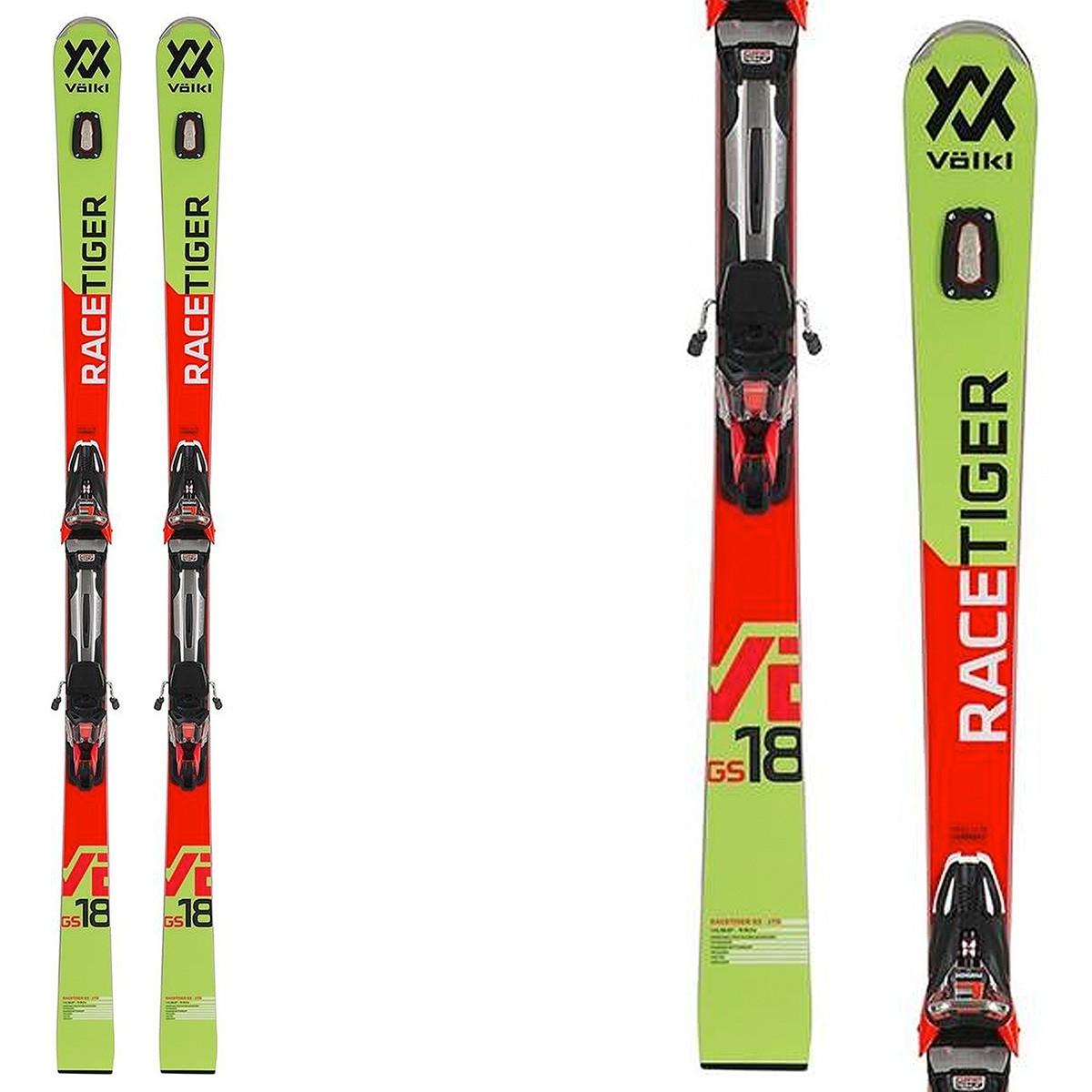 Sci Volkl Racetiger GSR + attacchi Race Xcell 16 (Colore: verde-arancio, Taglia: 174)