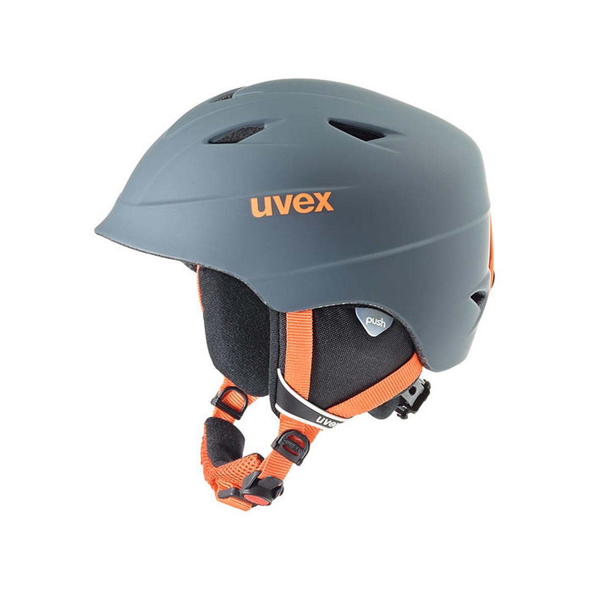 Casco sci + maschera Uvex Airwing (Colore: grigio scuro-arancio, Taglia: 54/58)