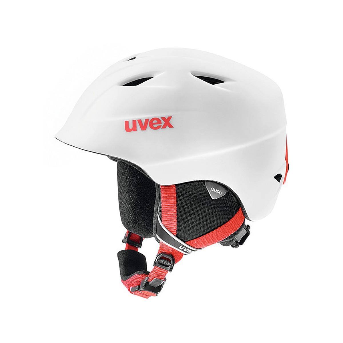 Casco sci + maschera Uvex Airwing (Colore: bianco-rosso, Taglia: 52/54)