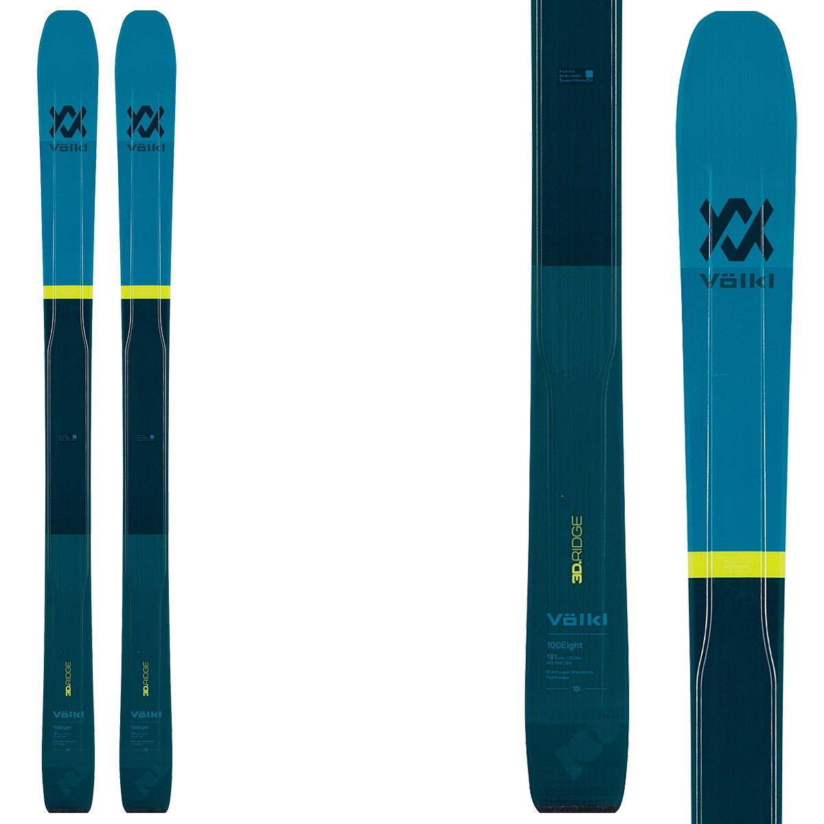 Sci Volkl 100 Eight Flat (Colore: nero-blu, Taglia: 189)
