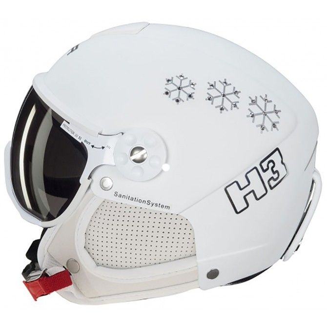 a6c15559a Casco sci Hammer H3 + visor bianco Swaroswky