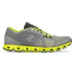 Scarpe running On Cloud X grigio-giallo fluo