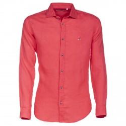 Camicia Canottieri Portofino in lino collo francese Corallo