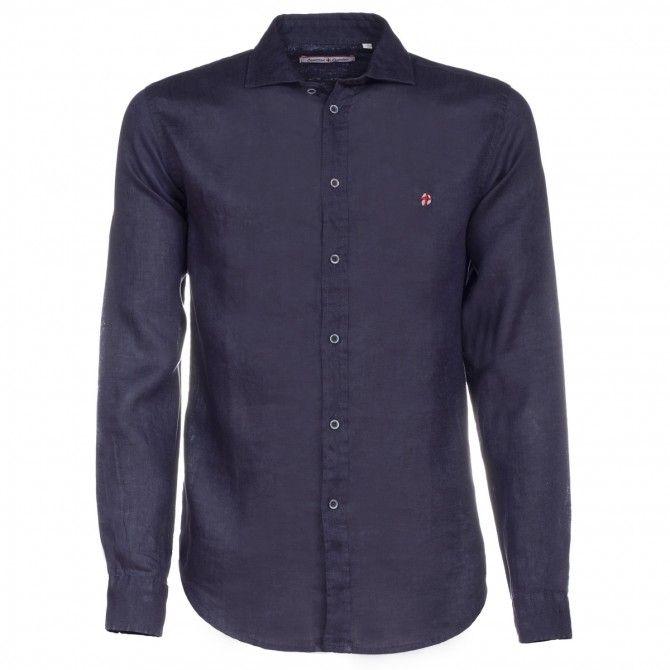 Camicia Canottieri Portofino in lino collo francese Blu