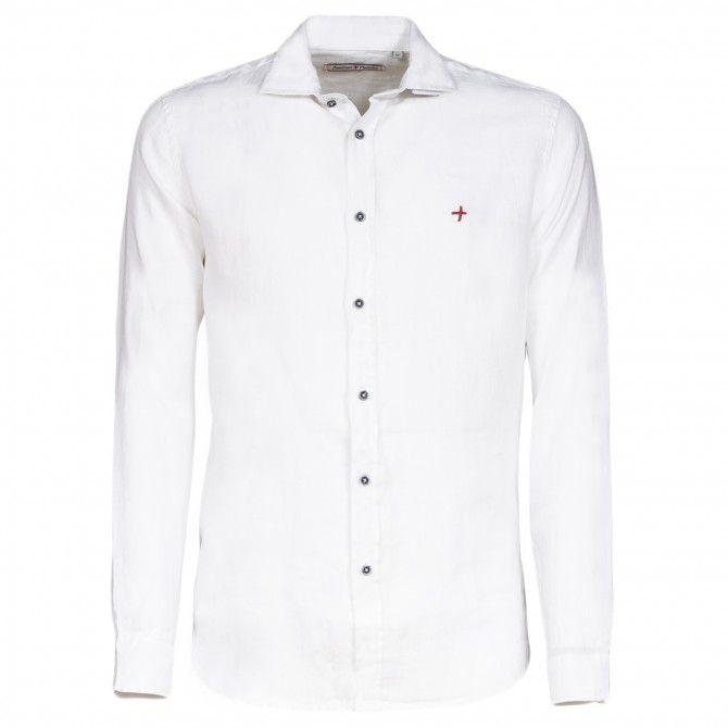 Camicia Canottieri Portofino in lino collo francese Bianco