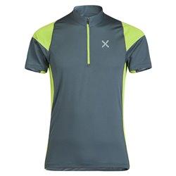 T-shirt trekking Montura World Geo piombo-verde acido