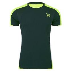 T-shirt running Montura Racy nero-verde fluo