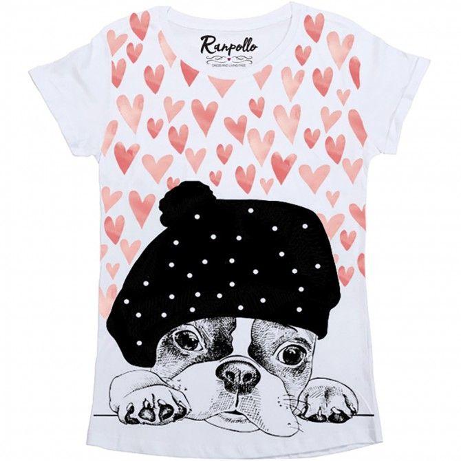 T-shirt Ranpollo Cuori cani bianco-rosa-nero fantasia
