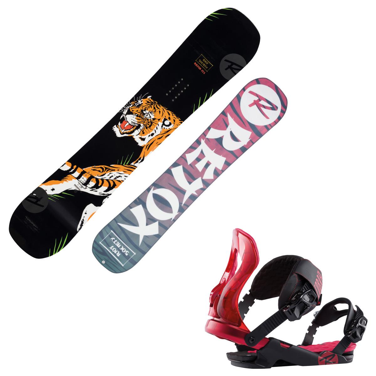 Snowboard Rossignol Retox con attacchi Cobra M/L (Colore: nero fantasia, Taglia: 153)