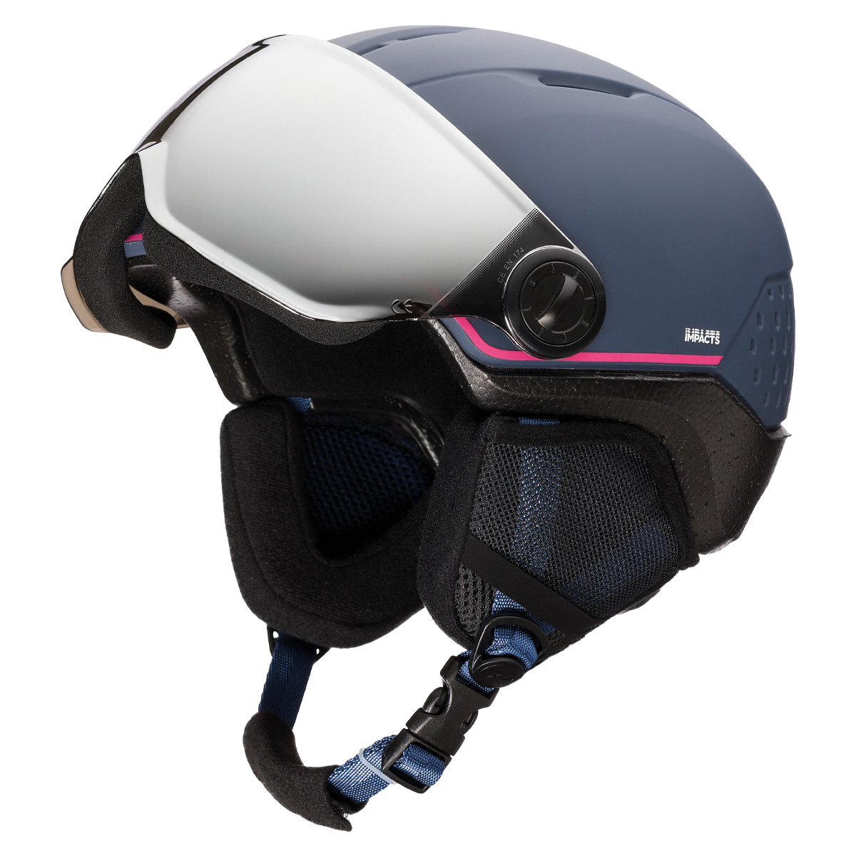 Casco sci Rossignol Whoopee Visor Impacts (Colore: blu-pink, Taglia: 49/52)