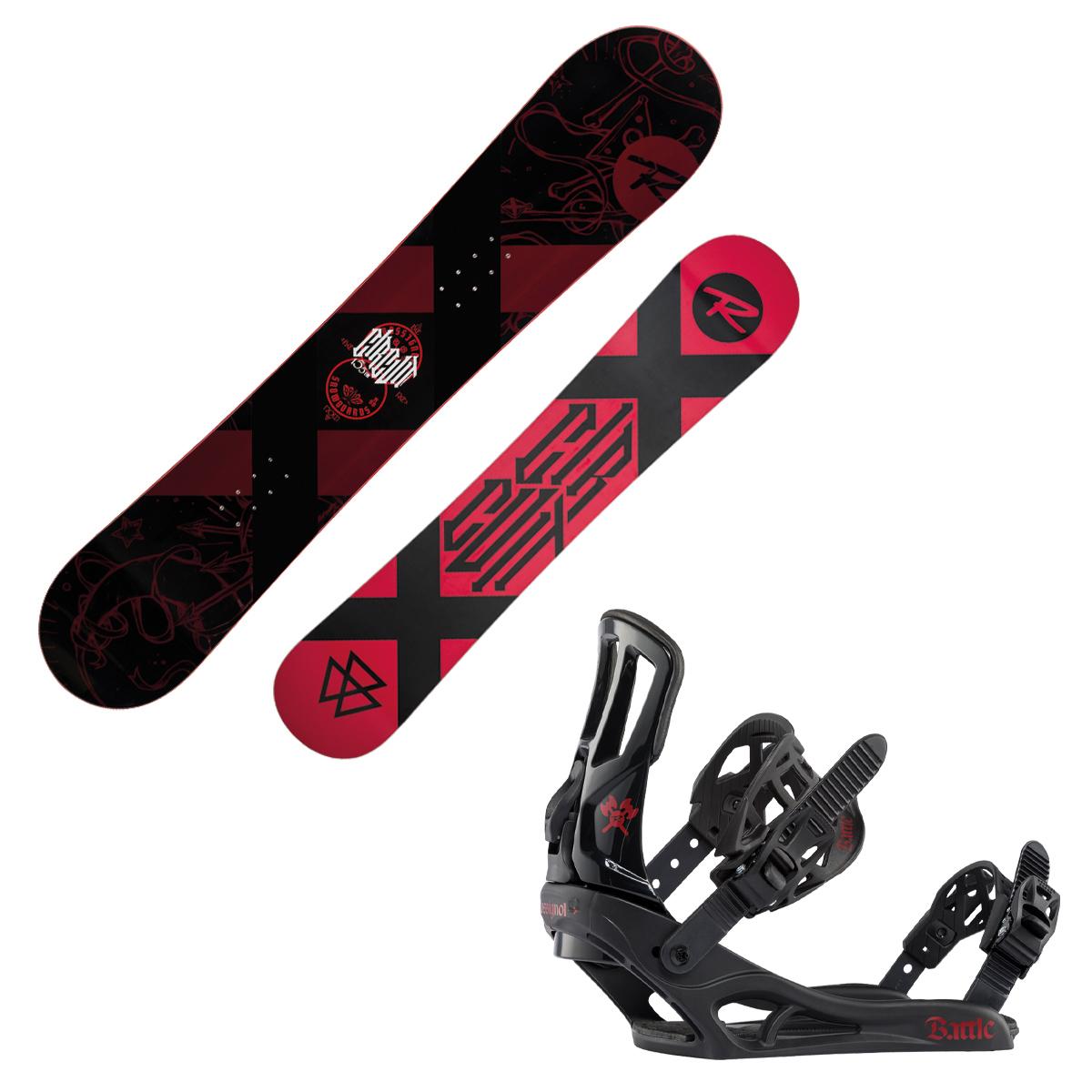 Snowboard Rossignol Circuit Wide con attacchi Battle (Colore: nero-rosso, Taglia: 161)