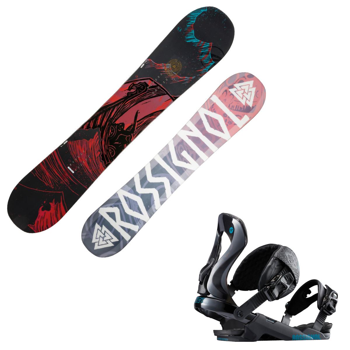 Snowboard Rossignol Angus Wide con attacchi Cobra (Colore: nero fantasia, Taglia: 163)
