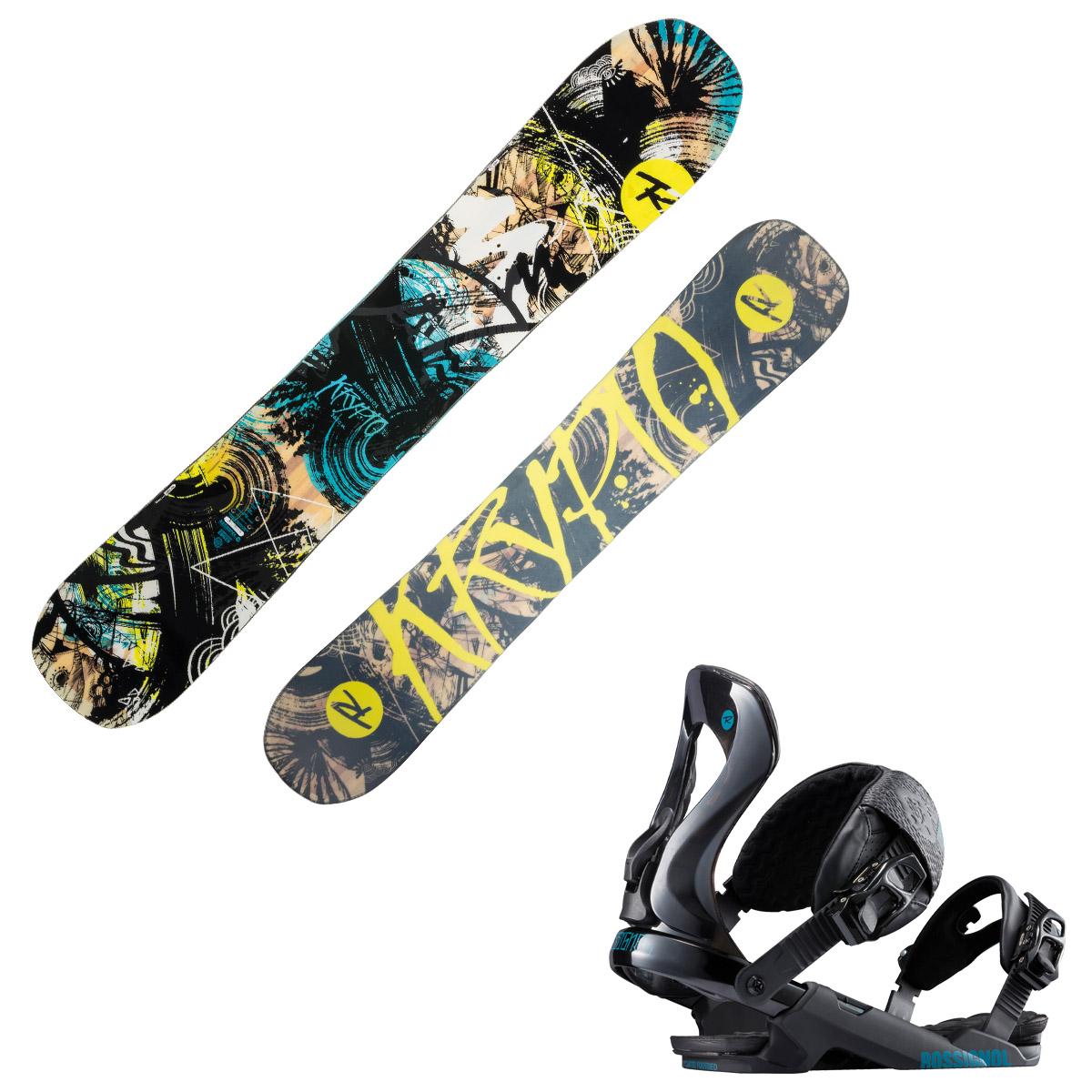 Snowboard Rossignol Krypto con attacchi Cobra (Colore: nero fantasia, Taglia: 156)