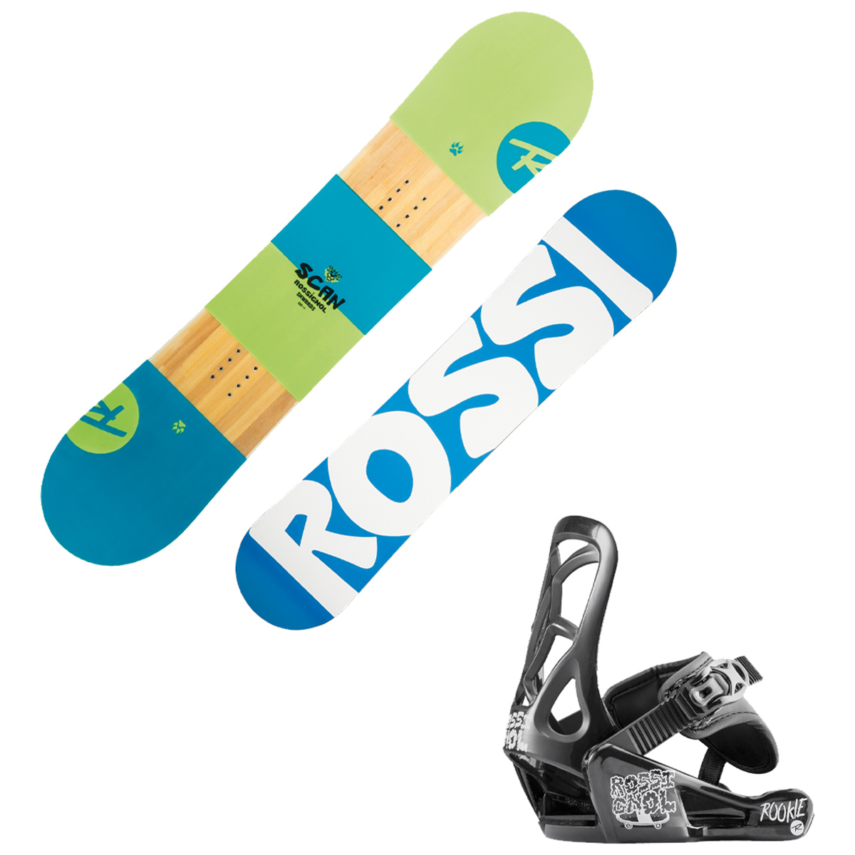 Snowboard Rossignol Scan Smalls con attacchi Rookie XS (Colore: nero-rosso fantasia, Taglia: 90)