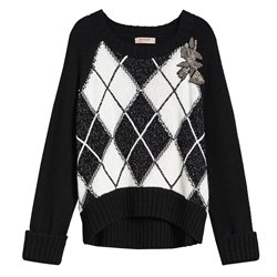 Boxy Twinset sweater with diamond inlay and embroidery