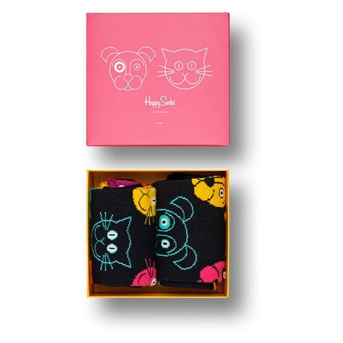 Calze Happy Socks Cat vs Dog box nero-blu-verde-rosa