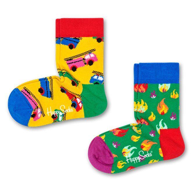 Calze Happy Socks On fire blu-verde-giallo