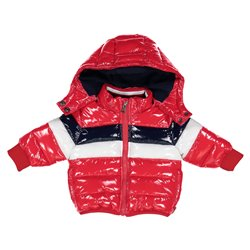 Melby shiny baby bomber jacket with hood and full zip