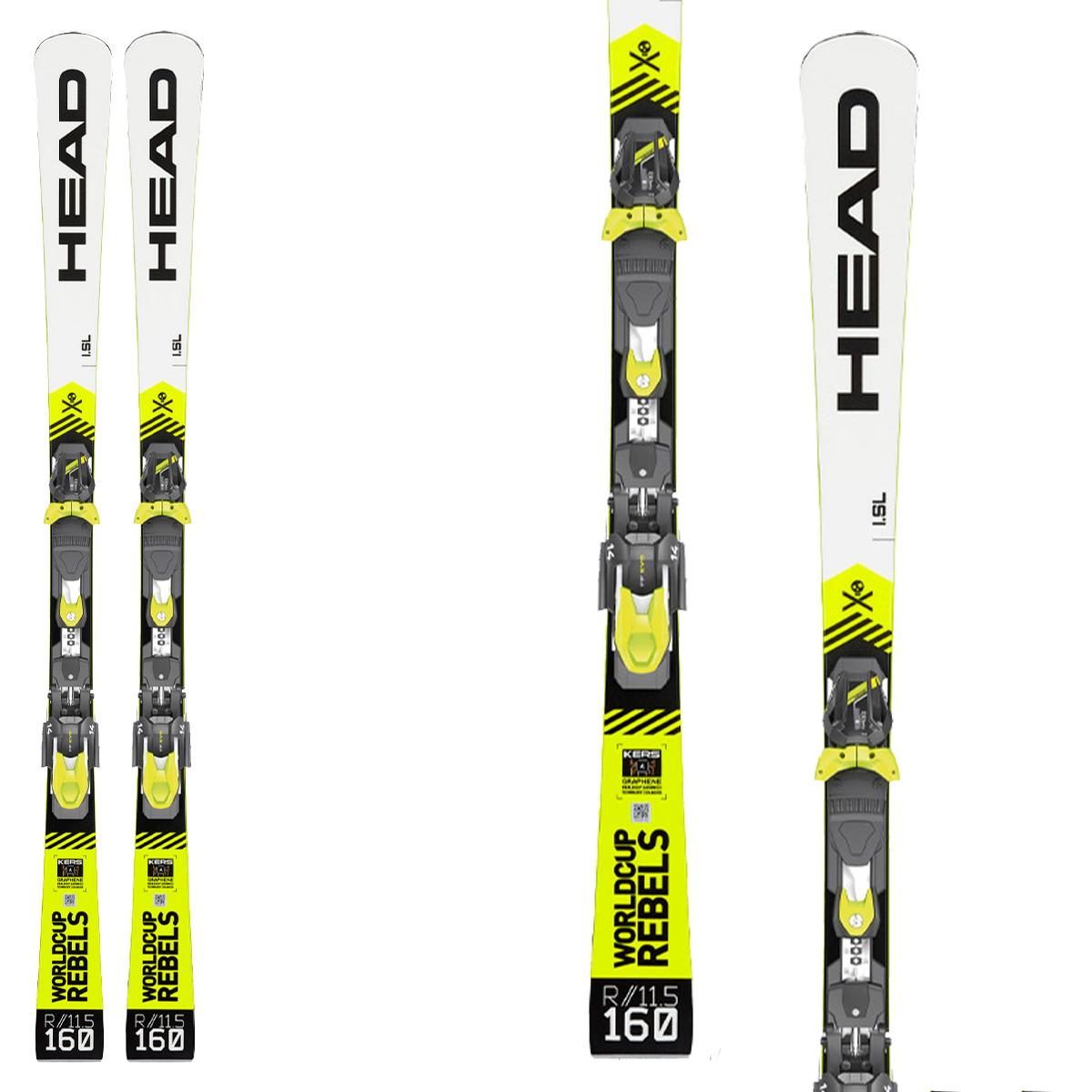 Sci Head WC Rebels iSL RD Team con attacchi Evo 9 GW Ac Brake 78 (Colore: bianco-nero-giallo fluo, Taglia: 144)