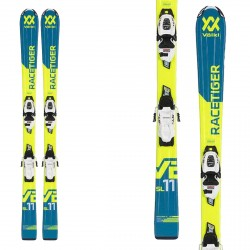 Volkl Jr Racetiger skis with 7.0 VMotion bindings